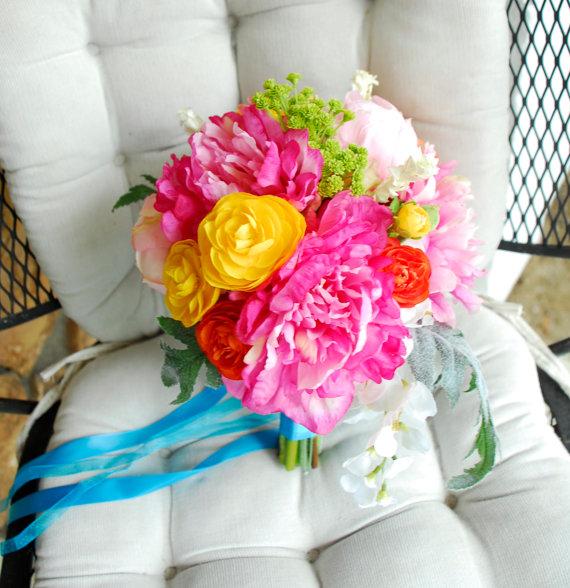 Neonowy bukiet ślubny