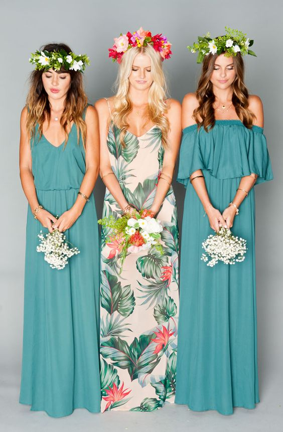 suknia dla druhny z nadrukiem