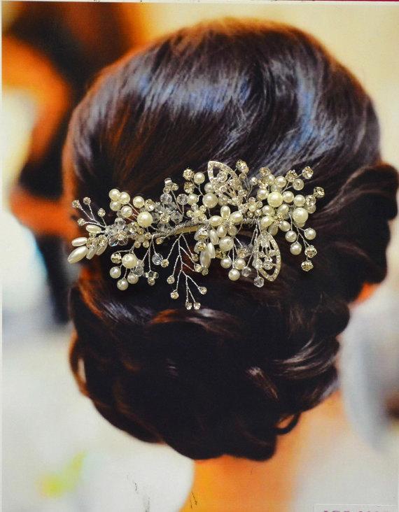 ozdobny stroik ślubny do włosów