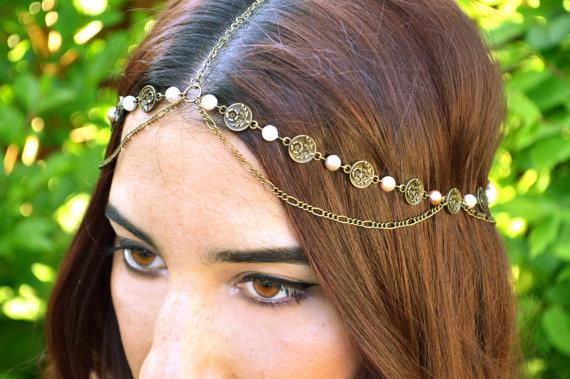 złoty stroik ślubny do włosów