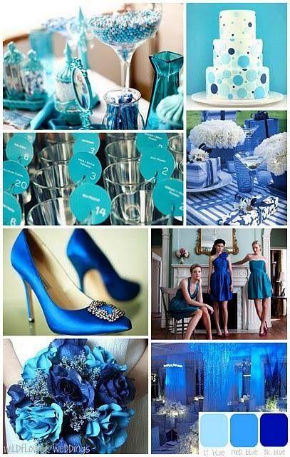 przyjęcie weselne w kolorze błękitnym