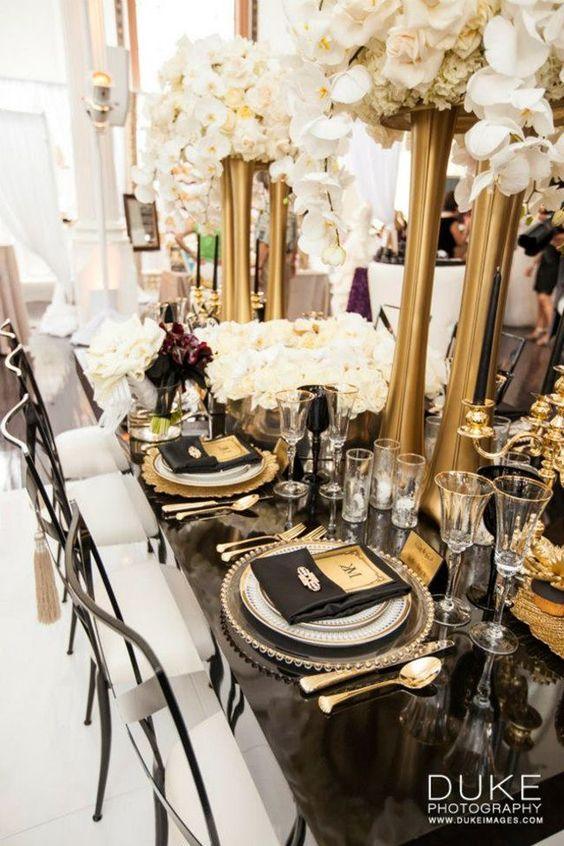 przyjęcie weselne w kolorze złota