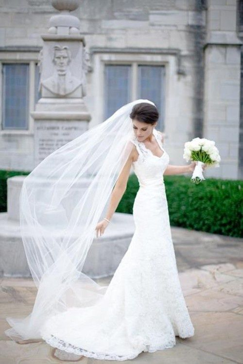 klasyczny długi welon ślubny