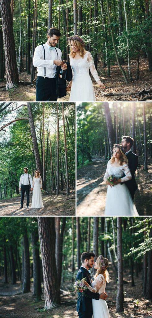 Sesja poślubna w lesie