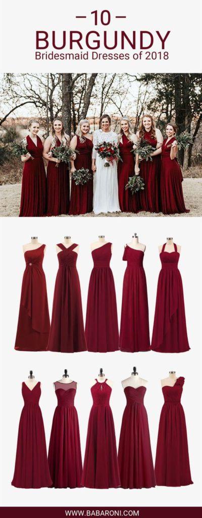 bordowa suknia dla druhgny