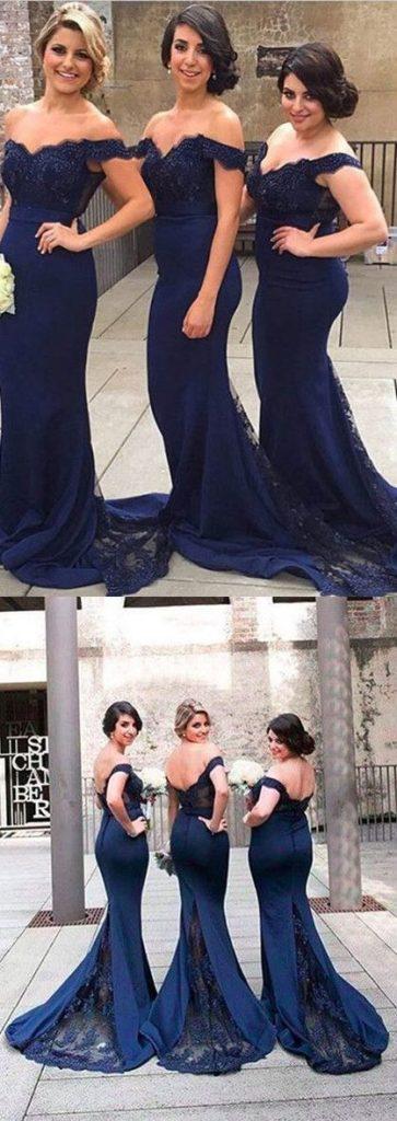 granatowa suknia dla druhny