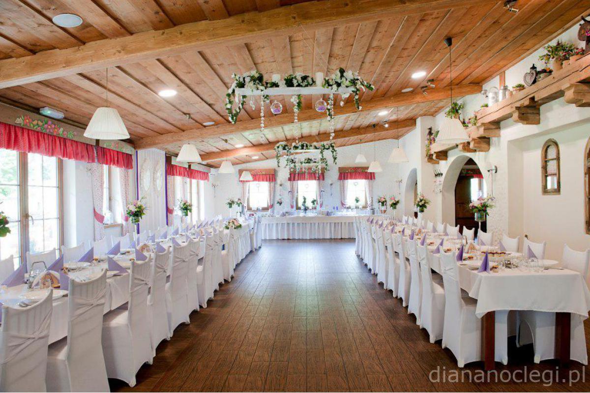 Sala weselna w górach - wesele góralskie w Willi Diana